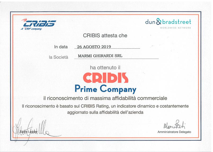 Certificat Cribis Prime Company